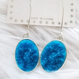 Silver faux stone earrings